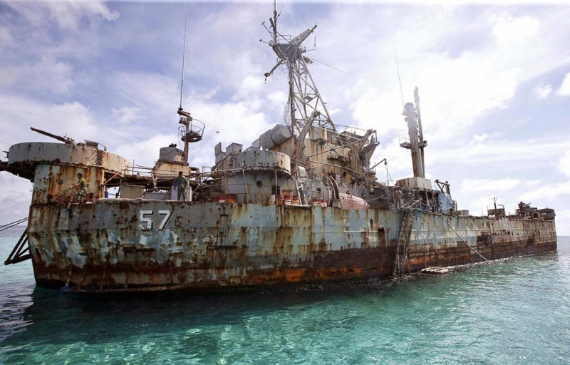 BRP Sierra Madre, a disintegrating World War II ship given by the US in 1976, guards the Ayungin Reef. Photo from www.askhardhool.com.