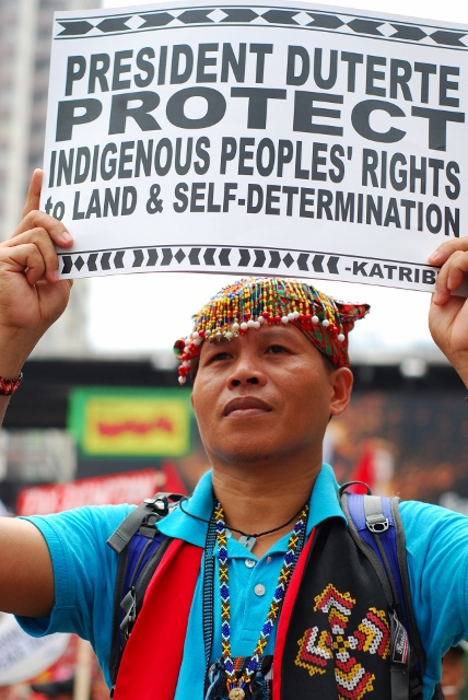 A Lumad shows indigenous people's call to Pres. Duterte